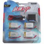 Batérie 3.7V 700mAh LiPol (sada batérií 4ks LiPol) + Nabíjačka USB pre RC Modely