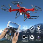 XXL DRON L5 s HD WIFI kamerou- barometrom-EVOLUTION PRO Sada 4 batérií navyše! červený