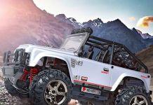 Luxusné realistický JEEP 22cm- 45km / hod náhon 4x4 s ľad svetlami, strieborný