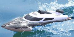 Najúžasnejší závodné loď 35km / h so svietiacimi svetlami a indikátorom dosahu až 200m, čierna
