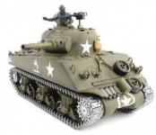 RC Tank 1/16 US M4A3 SHERMAN - kovová kolesá, pásy a prevodovka, strieľa guľôčky